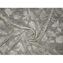 Ivory Silk Georgette Fabric with Subtle Metallic jacquard