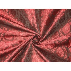 Spun Silk Brocade Fabric Black & Red 44""