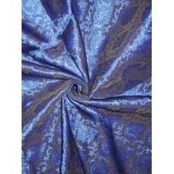 Spun Silk Brocade Fabric Black & Blue 44""