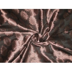 Spun Silk Brocade Fabric Black & Antique Rose Gold 44""