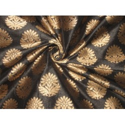 charcoal grey with gold motifs jacquard brocade fabric