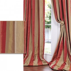 "Silk taffeta large stripes 54"" ~salmon beige"