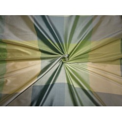 """100% Pure Silk dupion  Fabric  shades of  blues and greens COLOR PLAIDS 54"""" wide sold by the yard DUPC120[2]"""