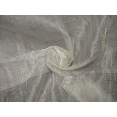 "silk organza fabric metallic  gold and silver plaids fabric 44"" by the yard"