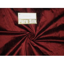Pure SILK DUPIONI FABRIC Deep Red x Black Shot colour
