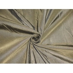Pure SILK DUPIONI FABRIC Golden Khakhi x Black colour