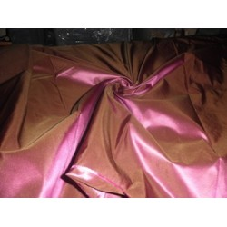 Pure SILK TAFFETA FABRIC Green x Orchid Pink color