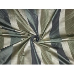 Silk Taffeta Fabric Gold & Teal colour with satin stripes 54""