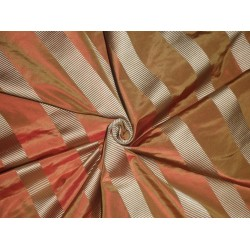 Silk Taffeta Fabric Gold & Orange colour with satin stripes 54""