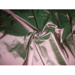 "Mary Ann"" plain silk 44""-green x shiny peach"