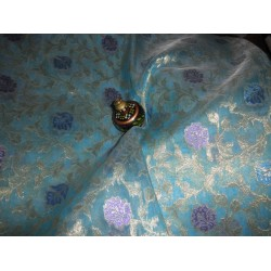 Jacquard silk Organza fabric Metallic Rich blue