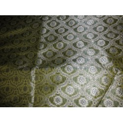 SILK BROCADE FABRIC -rich green design