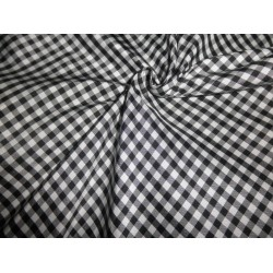 "Silk taffeta black / white plaids 54"" wide"