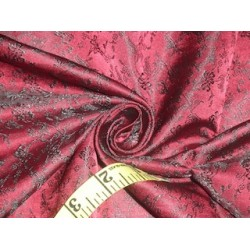 Spun Silk Brocade Fabric Black & Wine 44""