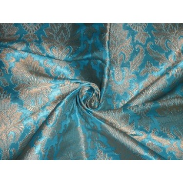 Pure Silk Brocade Fabric Aqua Blue & Metallic Gold color