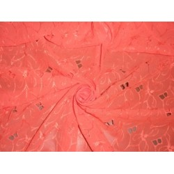 Coral color Swiss voile fabric with cut out work & embroidery 54""