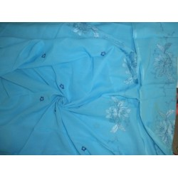 Turquoise Blue voile fabric with embroidery 58""