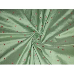 """SILK DUPIONI Fabric Mint Green with Red embroidered dots 54"""""""