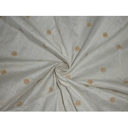 Pretty Ivory SILK DUPIONI Fabric with floral Embroidery