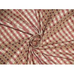 SILK TAFFETA FABRIC Pink & Cream color plaids with jacquard TAF CJ6