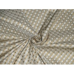 SILK TAFFETA FABRIC Greenish Grey,Gold & Cream color plaids with jacquard TAF CJ2