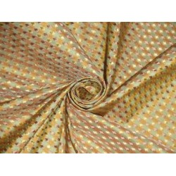 SILK TAFFETA FABRIC Pastel Green,Gold & Salmon color plaids with jacquard taf cj3