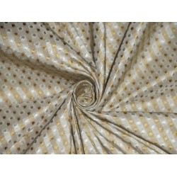 SILK TAFFETA FABRIC Light Gold & Cream color plaids with jacquard TAFCJ7