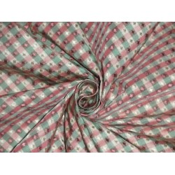 SILK TAFFETA FABRIC Pink,Mint & Cream color plaids with jacquard  TAFCJ4