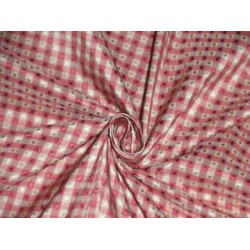 SILK TAFFETA FABRIC Pink & Cream color plaids with jacquard TAF CJ5