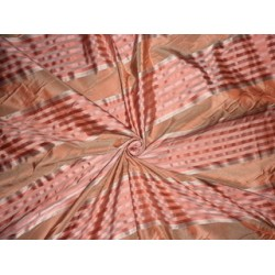 Silk Taffeta Fabric Shades of Salmon colour with satin stripes 54""
