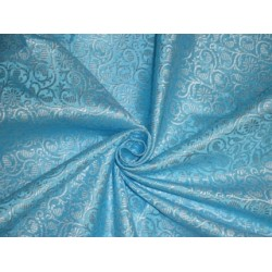 Spun Silk Brocade fabric Blue & Ivory Color