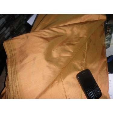 "SILK Dupioni FABRIC raw mustard 54"" *"