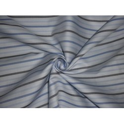 Cotton shirting fabric-twill with Shades of Blue & Ivory stripes