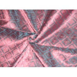 viscose  Silk Brocade Fabric Iridescent Blue & Pink 44""