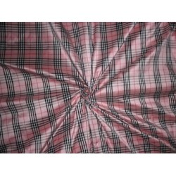 SILK DUPIONI FABRIC PLAIDS Pink,Ivory,Black & Red color
