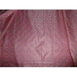 100% Pure Silk Brocade Fabric-Pink / gold