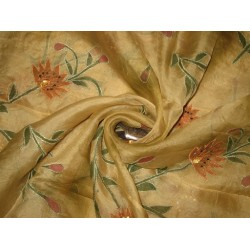 "100 % SILK ORGANZA FABRIC 44"" EMBROIDERED Light Gold COLOUR"