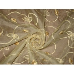 "100 % SILK ORGANZA FABRIC 44"" EMBROIDERED Light Gold Ivory/Gold COLORS available"