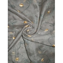 "100 % SILK ORGANZA FABRIC 44"" EMBROIDERED Greenish Grey COLORS available"