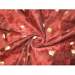 "100 % SILK ORGANZA FABRIC 44"" EMBROIDERED Wine Red COLOR"