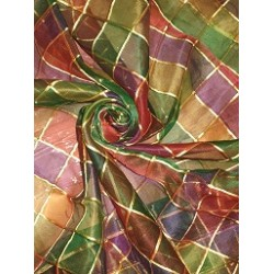 SILK ORGANZA FABRIC MULTI COLOR PLAIDS
