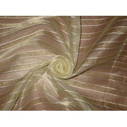 Ivory & Gold silk organza fabric with Jacquard