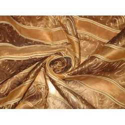 "Brown SILK ORGANZA FABRIC 44"" with embroidery"