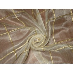 "ivory silk organza fabric 44"" with gold rope plaids~Semi Sheer"