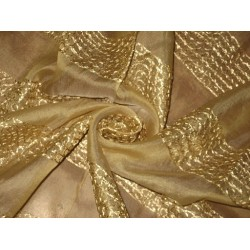 "100 % SILK ORGANZA FABRIC 44"" EMBROIDERED Gold COLOUR ~Semi Sheer"