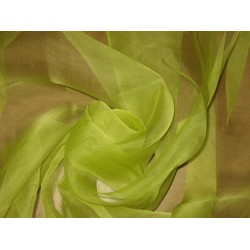 "Light Lime Green SILK ORGANZA FABRIC 44"" WIDE"