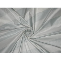 Silk Taffeta Fabric Light Powder Blue & Ivory StripesTAFS7