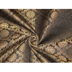 Spun Silk Brocade fabric Black & Metallic Gold Color