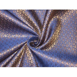 Spun Silk Brocade fabric Blue & Metallic Gold Color