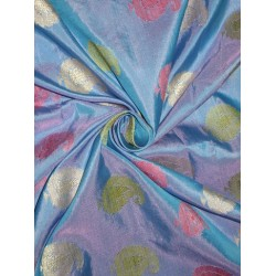 """Mary Ann"" silk fabric with jacquard 44""~Icy Blue"